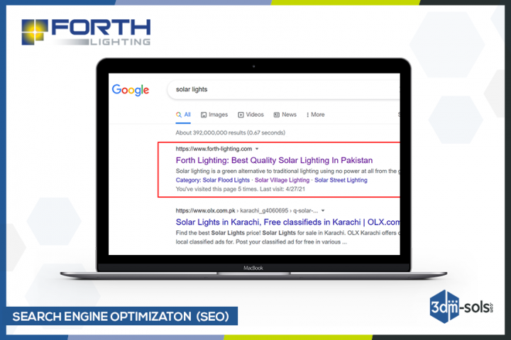 SEO results of Forthlighting